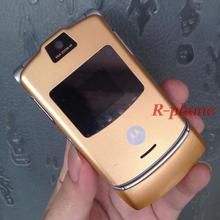 V3 2G GSM Unlocked Original RAZR V3 Mobile Phone Gold & Gift & one year warranty