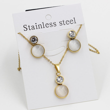 Free shipping new design stainless steel jewelry sets filled creal crystal and opal,  gold color necklace and drop earrings
