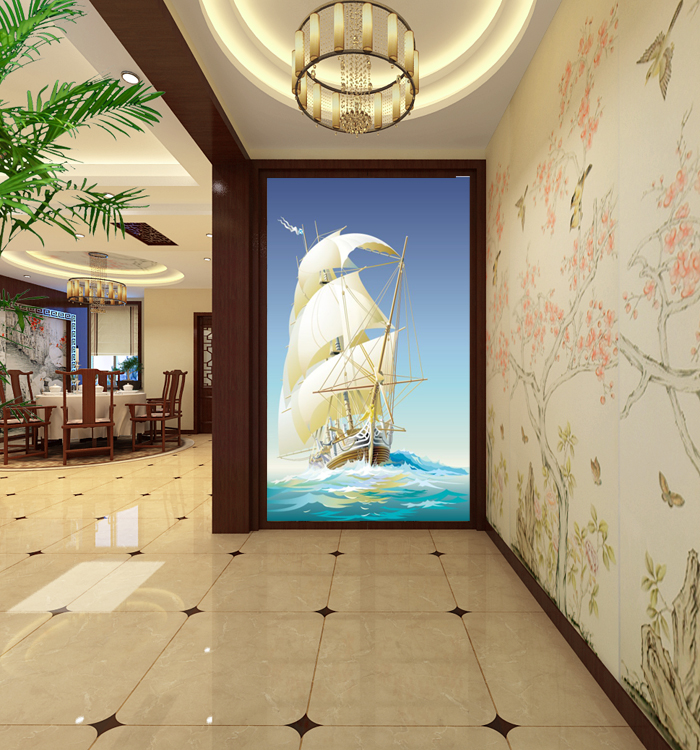 Free Shipping 3D stereoscopic large sailboat wallpaper mural entrance hallway corridor personalized custom wallpaper<br><br>Aliexpress