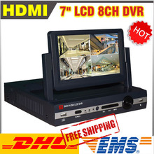 New 7 Inch LCD DVR 8 Channel H.264 CCTV DVR 8ch Full D1 DVR Recorder 8CH DVR Recording HDMI Video Surveillance CCTV System