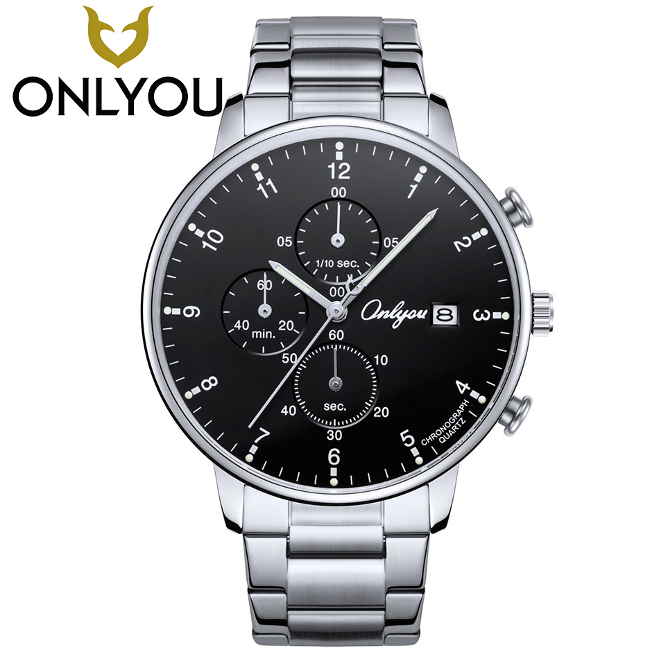 ONLYOU Mens Watches Top Brand Sport Fashion Business Quartz Moment Wristwatch Male Stainless Steel Waterproof Wholesale<br>