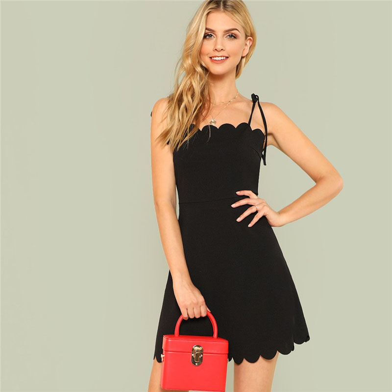 COLROVIE 2018 Fit & Flare Scalloped Bow Tied Cami Dress Summer Spaghetti Strap Sleeveless Female Dress Black Zipper Short Dress 12