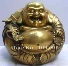 FREE SHIPPING Excellent Tibet Collection Carving cooper laughing Buddha Statues(China)