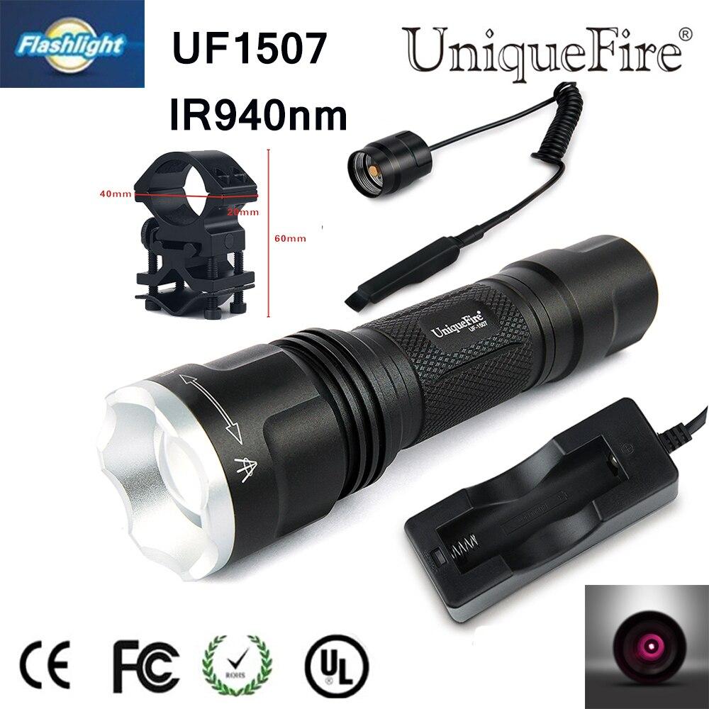 UniqueFire Practical Elegant Gift Uniquefire 1507 Mini Flashlight 940NM IR Led Torch+Charger+Scope Mount+Rat Tail Night Vision<br>