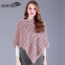 ZDFURS * Genuine Real  Women popular Fur poncho Wrap Female Party Pullover Knitted Rabbit Fur Poncho ZDKR-165001-3