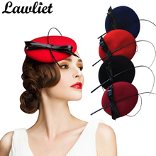 Women Fascinators Winter Round Wool Fedoras Bowknot Cocktail Party Wedding Hats For Women Ladies Dress Hat Hair Accessories 4pcs(China)