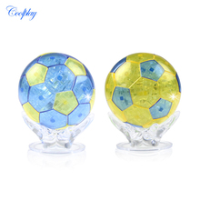 COOLPLAY Plastic Crystal Puzzle Toys Clear Football 3D Model Building Toy for Kids(China)