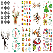 10PCS Set Women Sexy Flash Fake Tattoo Stickers Black Snowflake Winter Christmas Design Water Transfer Temporary Tatoo(China)