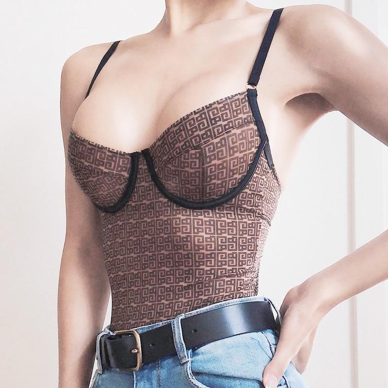 Sexy Bodysuit Summer Dress Spaghetti Strap Mesh Bodycon Women Jumpsuit 2019 New Catsuit Body Feminino Backless Stretch Dess