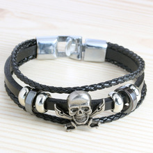 New Handmade Retro Genuine Leather Woven Skull Charm Bracelet Men Vintage Braided Bracelets Bangles Male Jewelry Free Shipping(China)