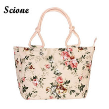 2017 Fashion Folding Women Big Size Handbag Tote Ladies Casual Flower Printing Canvas Graffiti Shoulder Bag Beach Bolsa Feminina