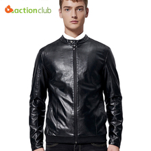 ACTIONCLUB Men Spring Autumn Collar Leather Jacket PU Simulation Lather Coat Young Leather Clothing Men's Motorcycle Jacket