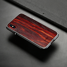 2017 Newest Showkoo Wooden Case For iPhone X Case Cover Natural Wood With Fiber+Metal Frame For iPhone X Wood Case Free Shipping(China)