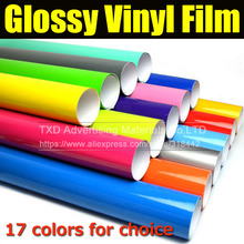 Glossy vinyl film bright Glossy car warp sticker Super Shiny Glossy Vinyl Film Car Wrapping Foil with Air Bubble(China)