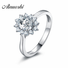 AINOUSHI 2017 New Luxury Floral Oval Halo Style Plain Shank SONA Wedding Ring 925 Sterling Silver Fancy Sunflower Ring