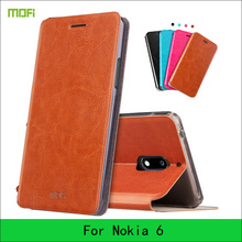 For Nokia 6 Case Mofi Hight Quality Luxury Flip PU Leather Stand Case For Nokia 6 Book Style Mobile Phone Cases(China)