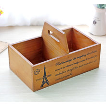 Portable Wooden Storage Boxes Basket Flower Pots Wood Organizer Crafts Retro Wooden Storage Cabinet Boxes & Bins Crafts Decor