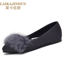 LAIKAJINDUN Brand 2017 Casual Fashion  Fox and Fine Hair Lighter Single Female Fur Leather Maomao Party Flat Shoes Logo Sandals