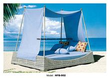 Holiday beach bed Outdoor Furniture Rattan bed Sofa Bed Terrace Sun bed Beach Pool leisure patio balcony lounge sofa With Tent