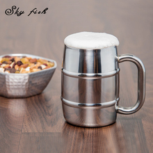 Sky Fish 18/8 Double Walled Stainless Steel Mug Coffee Mug Beer Cup Cappuccino Cups Drinkware(China)
