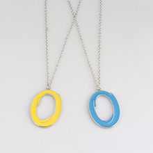 Portal 2 Inter-Spatial Portal Necklace 2 Colors Blue Yellow Enamel Oval Circle Hoop Pendant Necklace(China)