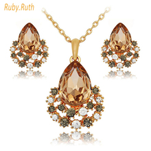 jewelry sets rose gold crystal fashion necklace earrings luxury wedding women bridal gift perhiasan african bridal jewellery set(China)