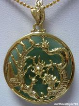 ddh003622 Natural Light Green   Dragon Phoenix Pendant & Necklace 28% Discount