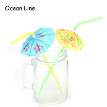 50Pcs 3D Paper Umbrella Cocktail Drinking Straws Novelty Party Bar Decorations Summer Holiday Party Supplies(China)