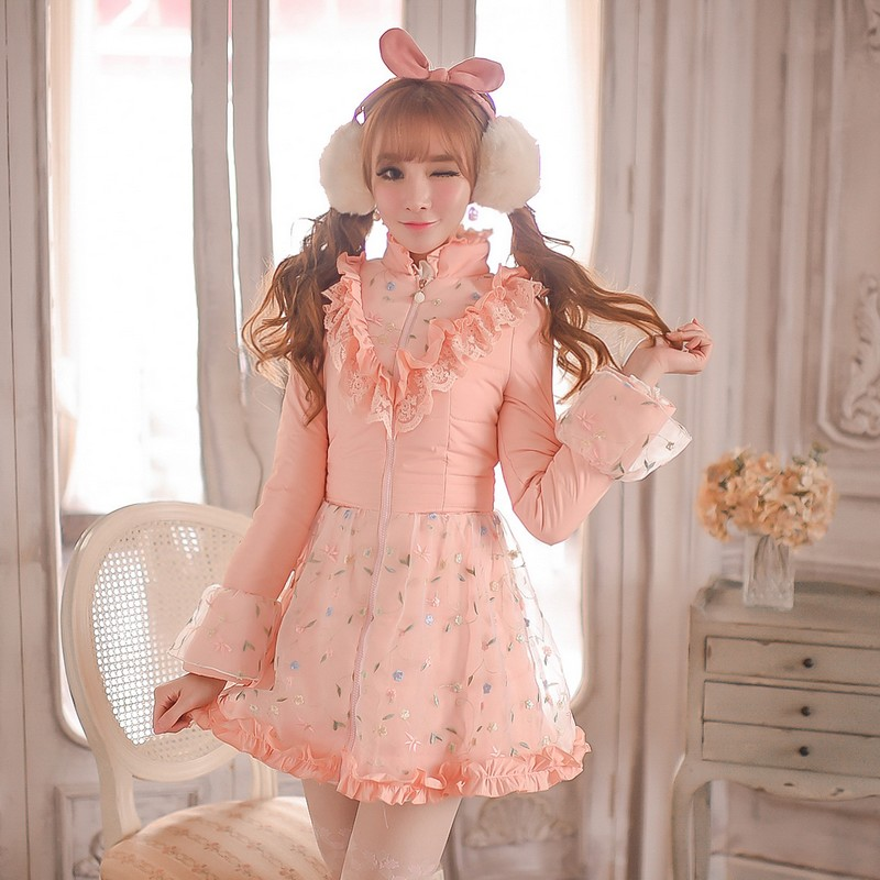Princess sweet lolita coat Candy Rain Winter Falbala waist with thick cotton-padded jacket down jacket coat  C15CD5003