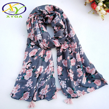 1PC New Flower Printed Cotton Women Long Scarf Spring Fashion Soft Lady Polyester Wraps Summer Thin Tassels Shawls Pashminas(China)
