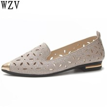 2018 Women Flat Shoes Woman Ballet low Heel Metal pointed toe Flats spring Lady Hollow Loafers women shoes E013