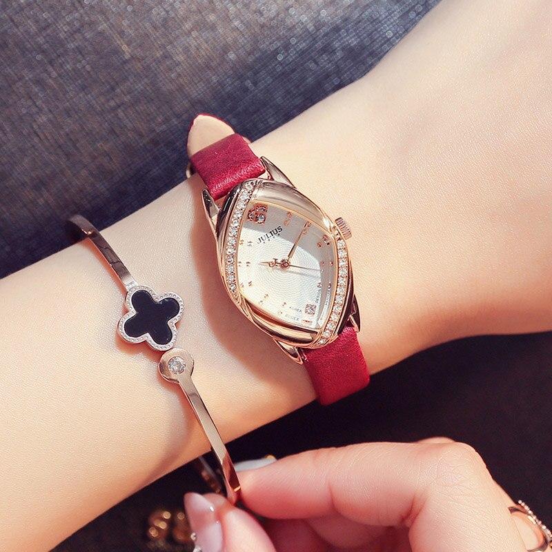 JULIUS Irregular Shape Leather Waterproof 30m Women Watches Fashion Casual Lady Watch Dress Gift Clock Rhinestone Reloj Mujer<br>