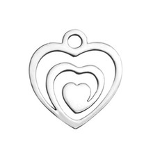 20pcs Stainless Steel Hollow Heart Charms Pendants Blank Stamping Tags for DIY Bracelets&Bangles 13.8*12.8mm(China)