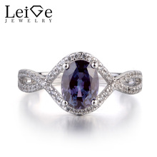 Leige Jewelry Alexandrite Ring Oval Shaped Engagement Rings for Women Color Changing Gemstone Jewelry Sterling Silver 925(China)