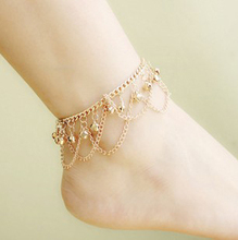SHUANGR New Charm Gold-Color Chain Bell Anklets for Women Ankle Bracelet Chain Foot Jewelry TZ455(China)