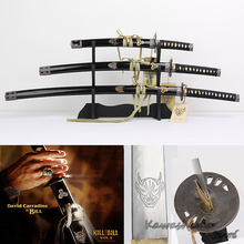 For Movie Kill Bill Bridegroom's Swords 3pcs Set Decoration Sword With Wooden Stand Carbon Steel Blade Replica Real Katana