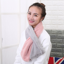 DIFANNI New Arrival Winter Women Warm Scarves High Quality Soft Faux Fur Neck Warmer Fashion All-match Bear Thick Solid Scarf