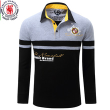 Europe Size New Brand Men's Solid Long Sleeve Polo Shirt Autumn Full Sleeve Warm Shirt Casual Printing Tops Jeans Blue  057