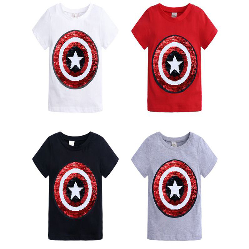 boys girls t shirt cartoon short sleeve summer 2019 t-shirt kid clothes children tops kids tshirt sequined red white black 1-8Y