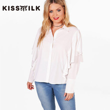 kiss milk autumn plus size western style fashion loose solid color ruffles long sleeve 3XL-7XL white woman's Casual Shirt(China)