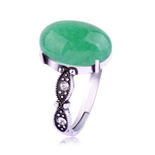 New Fashion Charm Women Antique Silver Plated Retro Green stone Ring Jewelry