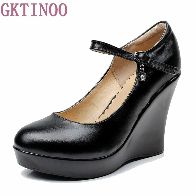 Womens genuine leather platform shoes 2017 new fashion high heels wedges shoes women pumps<br>