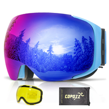 COPOZZ Frameless Magnetic Ski Goggles with Night Skiing Yellow Lens Anti-fog UV400 Protection Snowboard Goggles for Men & Women(China)
