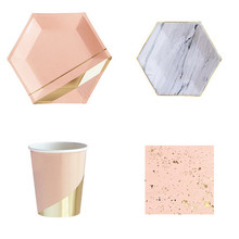 Pink Disposable Paper Tableware Sets Marble Party Cups Plates Napkins Serviettes Utensils Wedding Birthday Party Decoration