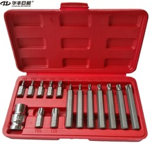 "Buy HUAFENG BIG ARROW 15PC 1/2"" Metric Torque Torx Star Drive Socket Bit Set CR-V Torx Bit Set Hand Tool Set T20-T55 for $24.99 in AliExpress store"