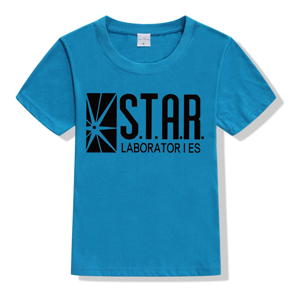 3-10Y Kids Black Star Lab Letter Print Short Sleeve T Shirt Boys Novelty T-shirt Girls Tshirt Clothes Anime Comics The Flash 12