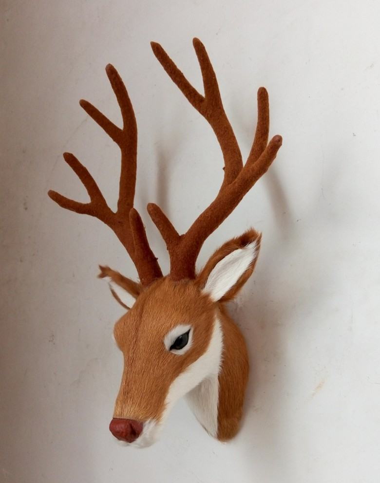 about 26x17cm simulation deer head toy lifelike sika deer head model wall pendant home decoration gift t138<br>