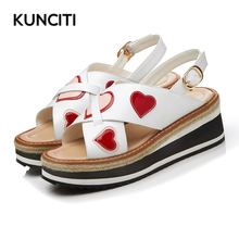 KUNCITI 2017 Open Toe Women Platform Sandals Buckle Ornated Casual Shoes For Summer Love Hearted New Designer Wedge Sandals L230