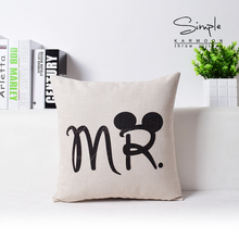 Free Shipping Custom Mr Mrs Decorative Wholesaler Bedroom Cushion White Linen For Wedding Couple Valentine Gift