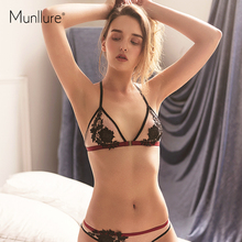 Munllure Front buckle Embroidery Net Yarn Comfortable Ultra-thin Soft Cup Beautiful Back Sexy Lingerie women Underwear bra set(China)